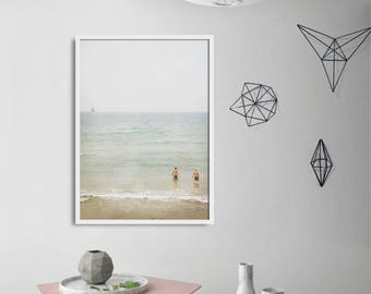 Large Minimalist Pastel Photography / Summer Beach Print / Scandinavian Art Photograph For Your Home Walls / Living Room Decor / Fresh Color