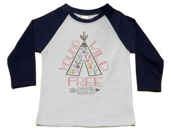 Easter Shirt, Boho Easter Teepee, Personalized Gift, Girls Boho Easter Bunny T-shirt, Young Wild Free, Toddler Girl Present, Trendy Easter