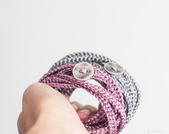 Wrapped Jewelry. Set of two Crochet wrap Bracelets. Silver and pearly pink. Fine wool hand-woven winter jewelry. Boho,chic,romantic jewelry