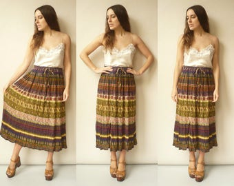 Vintage Indian Hippie Rayon Gauze Sheer Gypsy Tie Waist Maxi Skirt