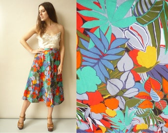 Vintage 1980's Bold Tropical Floral Pattern High Waisted Midi Skirt Size Medium