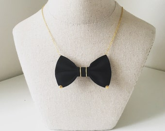 Black Matte Gold -  Cotton Bow-tie Necklace, Bowtie for Women, Girls - 18-20 inches Adjustable Chain - Casual, Bohemian, Party, Wedding