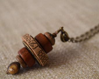 Cork Pendant Necklace with Multi-Toned Wood Beads and Antique Gold Accents-Recycled Cork