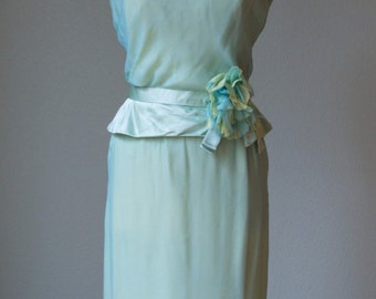 1950s Harvey Berin Couture Silk Chiffon and Silk Satin Illusion Bodice - Party Dress with Peplum Belt and Silk Flower - Flawless - Medium