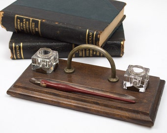Antique Desk Set with Crystal Glass Ink Wells and Pen Staff