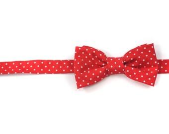 Red Dot Little Boys Bowtie - Child or Infant -  Spring Photos, Wedding, Ringbearer, Dress Up