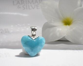 Larimarandsilver heart pendant, Turquoise Love - turquoise Larimar heart, azure, Caribbean turquoise heart, handmade Larimar heart pendant