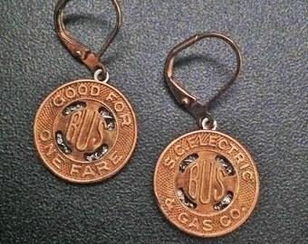 1900s Charleston, SC Transit Token Earrings