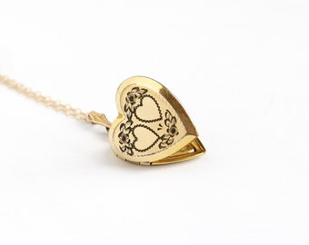 Vintage 12k Gold Filled Double Heart Locket Necklace - Late Art Deco 1940s Sweetheart Pendant Romantic Flower Floral Photographic Jewelry
