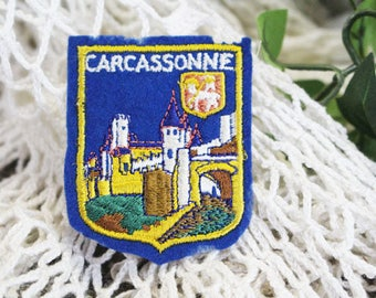 Vintage CARCASSONNE Travel Patch, French Travel Souvenir, Carcassonne France