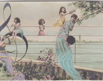 Surreal Musical Fantaisie in Treble Clef, French Postcard by A. Noyer of Paris, circa 1900