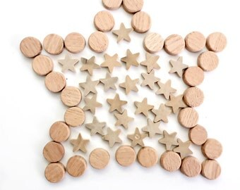 Small Wooden Discs and Stars for Crafts