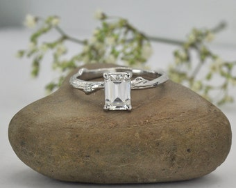 Radiant-cut Forever One Moissanite Twig Engagement Ring - White Gold - Unique Diamond Alternative Ring