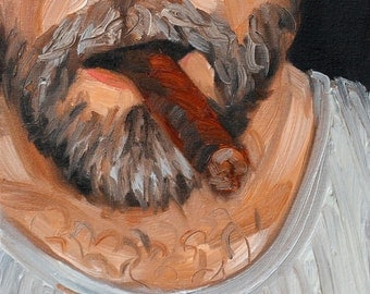 Cigar Bear, oil on canvas panel 9x12 inches by Kenney Mencher