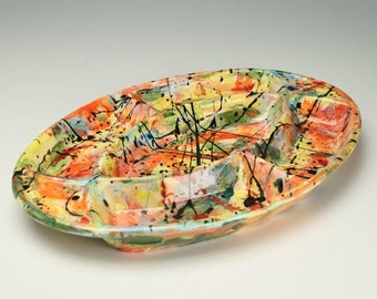 Serving Dish, Large 5 Sectioned Platter, Divided Appetizer and Main Meal Tray, Abstract Ceramic Serving Tray, Veggie and Dip Section Plate