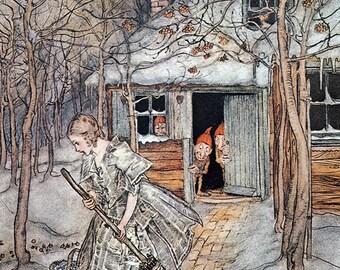 3 Little Men in the Wood,  Arthur Rackham, Vinatge Art Print