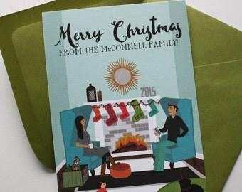 Fireplace Scene Custom Illustrated Christmas Cards