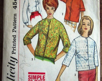 Vintage 1960s Easy Sew Misses Blouse with Round Neckline, Set-in Sleeves Size 14 Simplicity Pattern 4464 Cut/Complete