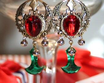 Egyptian red beetle bell vintage green glass anchor edwardian artisan earrings