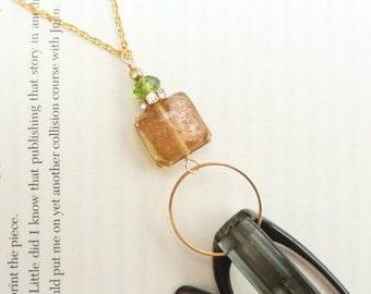 Gold Lanyard, Gold Eyeglass Loop, Gold Eyeglass Chain, Amber Glass Badge Holder, Gold Glasses Necklace, Cordon, Fall Colors Lanyard Women