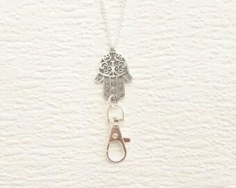Lanyard Silver, Hamsa Hand Lanyard Silver, Name Badge Holder Necklace Hand of Fatima, Boho Silver Lanyard Simple Modern For Women