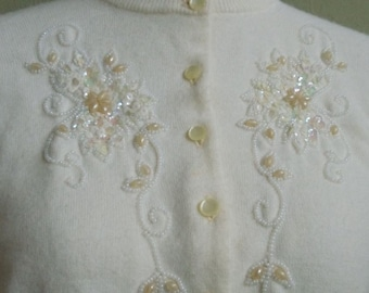 "Vintage 50's Blairmoor Original White Long Sleeved Cardigan Embellished with Sequins and Beads Bust 39"" Waist 32"""