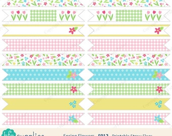Spring Flowers printable straw flags - birthday party, baby shower, pretty flower design - Digital Instant Download F012