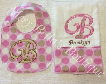 Baby girl gift set, baby shower gift set,welcome baby ,personalized gift bib and burp cloth, burpie,pink brown dots embroidered