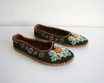 Beaded Leather Bottom Polish House Shoes