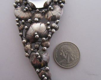 "Mary Gage Handmade Rock Crystal and Sterling ""Lillie"" Pad Brooch"