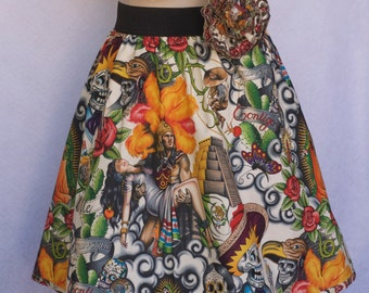 Woman's Retro Skirt, Dia Los Muertos, Sugar Skull, Day of Dead, Virgen de Guadalupe
