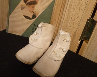Antique White Kid Leather Victorian Baby / Doll Shoes Boots