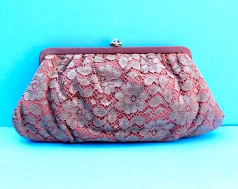 Vintage Dusty Rose Lace Clutch/Peach Lace Clutch/Mauve Lace Clutch