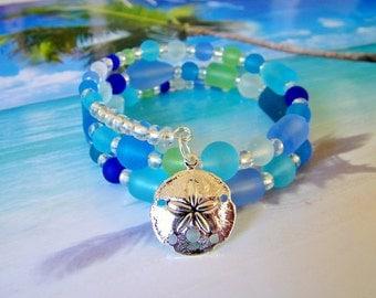 Seaglass beads sand dollar charm beach memory wire wrap bracelet sea colors tumbled glass boho bracelet