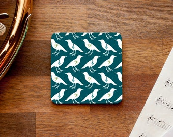 Musical Birds Themed Coaster - Treble and Bass Clef