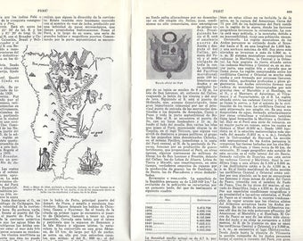13 Vintage Spanish dictionary sheets about PERU