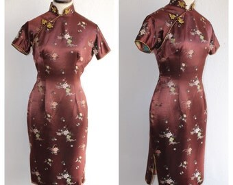 VTG 1960s Chestnut Brown Cheongsam Floral Wiggle Dress with Yellow Piping + Frog Buttons