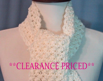 CLEARANCE PRICED 60% OFF - Ivory/Off White Color Long Ladies Scarf - Hand Crocheted - Soft Acrylic Yarn - Handmade - Ready to Ship