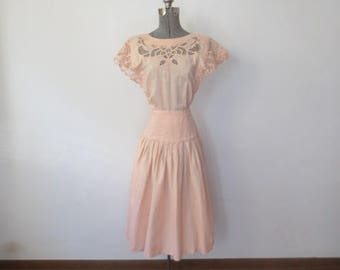 Vintage '90s Pale Pink Cotton 'Plaza South' Lacy, Cut-Out, Pleated Dress, XS / Small