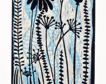 linocut print, Meadow, sky blue, olive green, flowers, nature, printmaking, home interior, contemporary art, seeds, pods, stylized flowers,