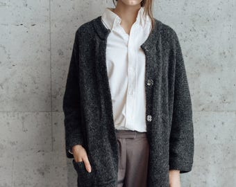 Long Alpaca Merino Wool Cardigan Coat. Oversized Coat. Knitted Coat. Womens Coat. Overcoat. With Snap Buttons.