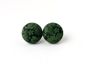 Green black floral fabric button earrings  - flower stud earrings - tiny pistachio earrings