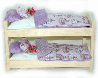Double Doll Bunk Bed  - Dreaming! American Made Girl Doll Bunk Bed - Fits 18 inch dolls and AG dolls