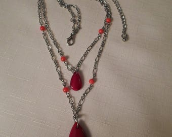 GLASS & SILVER NECKLACE / Choker / Pendant / Lavaliere / Red / Double Strand / Art Moderne / Modernist / Retro / Trendy / Chic / Accessory