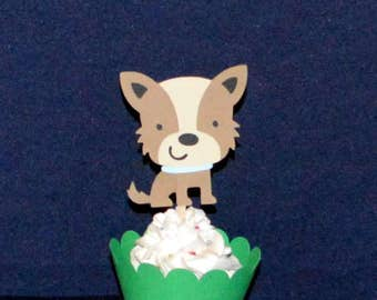 9 Terrier Cupcake Toppers READY to SHiP Happy Birthday Pawty Puppy Dog Party Food Picks Baby Shower Decorations