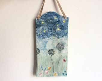 Dandelion Art, Flower Meadow Hanging plaque, Nature Art Tile, Starry Sky Wall Hanging, Country home decor, Ceramic Ornament, Wall Hanging.