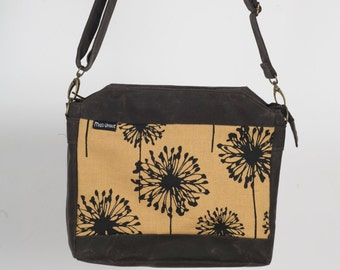 Waxed Canvas Bag With Dandelion Screen Print. Hand Made And Ready To Ship.