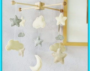 Moon and Stars Mobile, Baby Mobile, Nursery Decor, Clouds Mobile, Neutral Nursery, Ivory Granite Sandstone, Match Neutral Baby Bedding