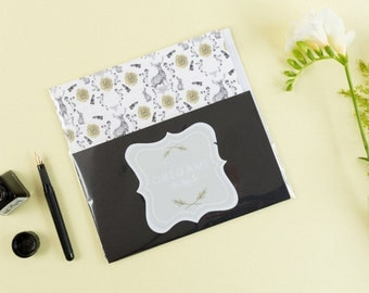 Stag Print Origami Writing Set // Origami Paper - Letter Writing Set - Gifts for Her - Gifts Under 10 - Gifts for Writers