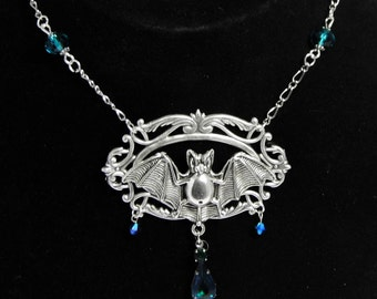 Art Nouveau bat necklace, silver bat, silver filigree, Victorian necklace, Art Nouveau pendant, blue crystal, vampire jewellery
